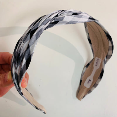 Twist Plaid Headband (Black/White)