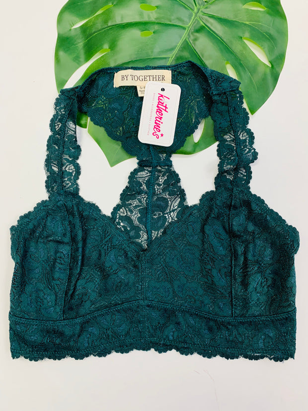 Racerback Lace Bralette (Hunter Green)
