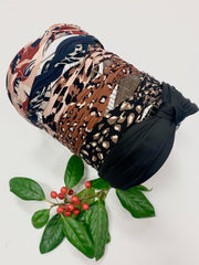 Printed Knotted Headband (Navy)