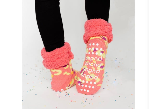 Coral Leopard Slipper Socks