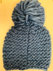 Woven Hat with Pom (Navy)