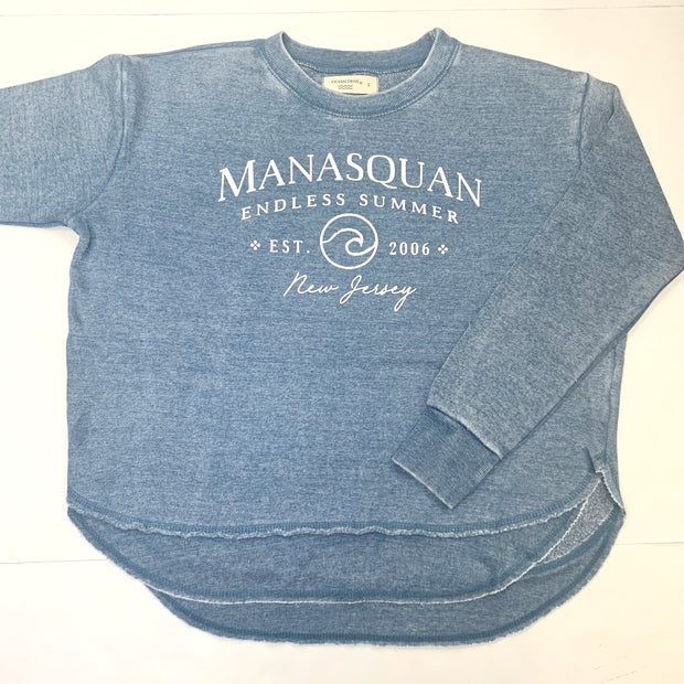 Manasquan Burnout Round Hem Crew Neck (Blue)