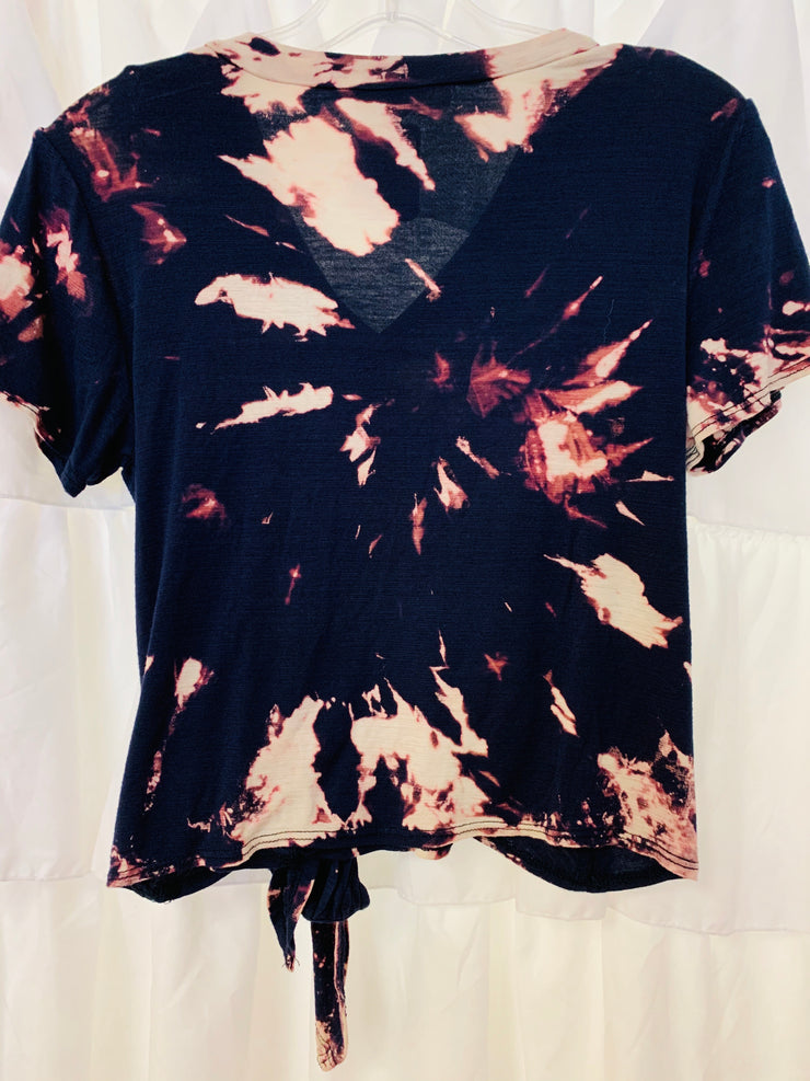V-Neck Cropped Tie Dye Tee (Navy)