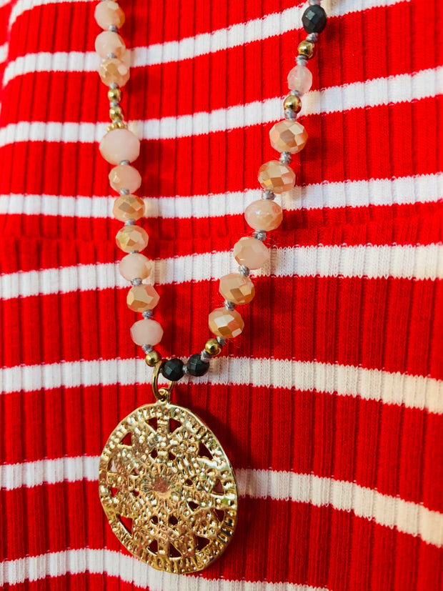 Long Beaded Coin Necklace