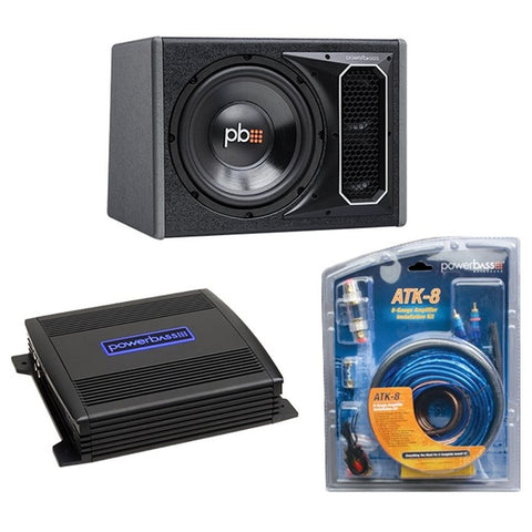 "PowerBass PS-PP121 Single 12"" Subwoofer / Amp Kit with 8 ga Wiring Kit"