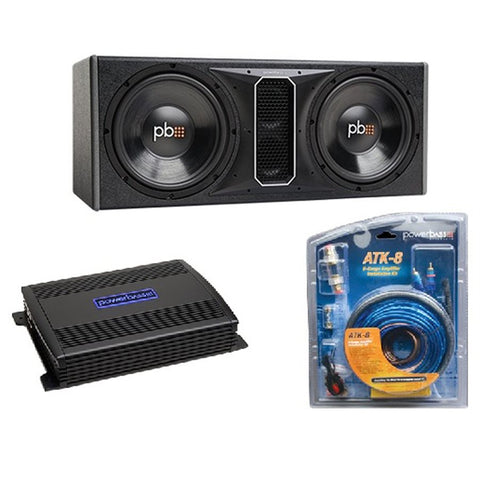 "PowerBass PS-PP122 Dual 12"" Subwoofer / Amp Kit with 8 ga Wiring Kit"