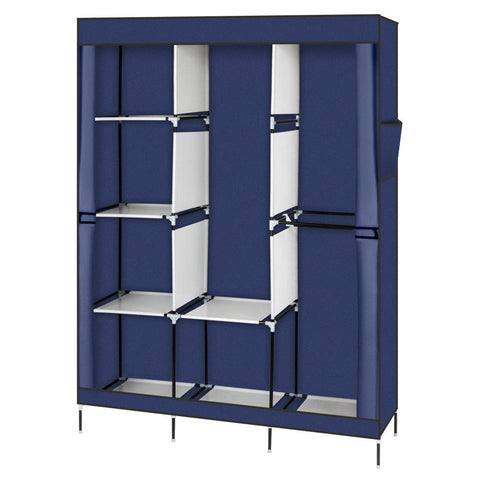 "71"" Portable Closet Wardrobe Clothes Rack Storage Organizer with Shelf Blue"