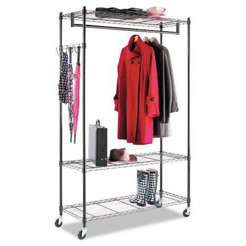 Alera® Wire Shelving Garment Rack, Coat Rack, Stand Alone Rack, Black Steel w/Casters