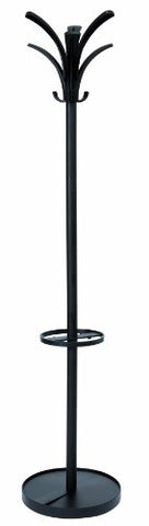 Alba Floor Coat Stand with 6 Pegs and 3 Hooks, Black