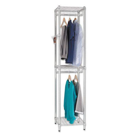 Alera® Wire Shelving Garment Tower, 18w x 18d x 81 3/4h, Silver