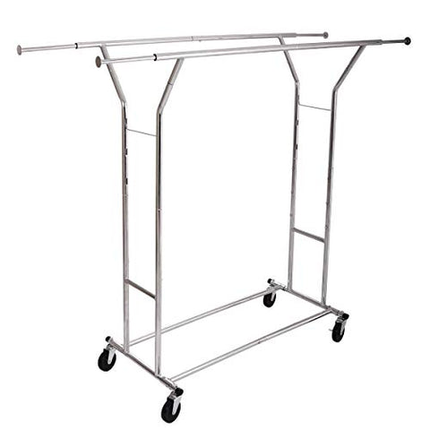 AK Energy Commercial Dual Bar Clothing Rolling Double Garment Dry Rack Hanger Adjustable Height