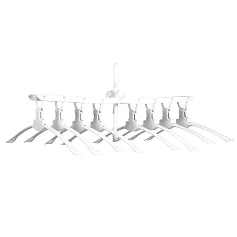 8-in-1 Hangers,Magic Folding Clothes Rack Portable Hanger for Clothes Folding Clothes Hangers for Travel Multi-Function Clothes Drying Rack (White)