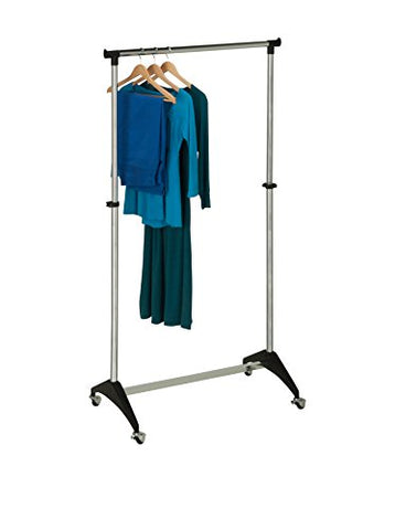 Honey-Can-Do GAR-03535 Adjustable Expandable Garment Rack with Locking Wheels, Up to 66-Inch, Chrome
