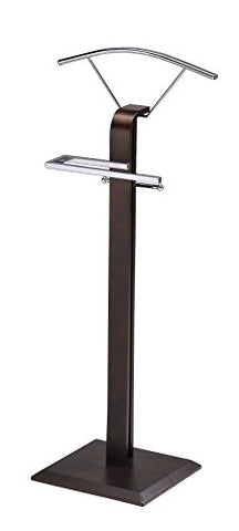 Kings Brand Furniture Modern Chrome/Walnut Suit Rack Valet Stand