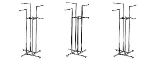 Econoco Clothing Rack – Heavy Duty Chrome 4 Way Rack, Adjustable Height Arms, Square Tubing, Perfect for Clothing Store Display with 4 Straight Arms (3-(Pack))