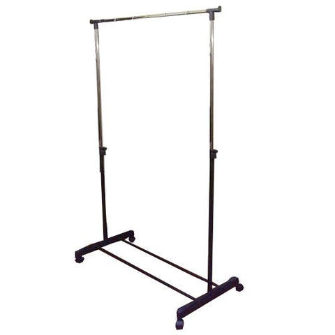 JVL Adjustable Garment Rack Clothing Rail with Wheels, Metal, Black