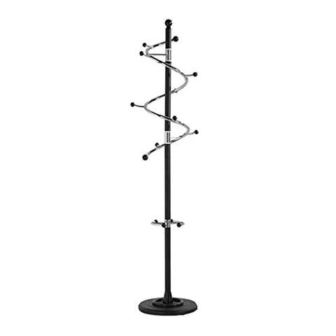 LXLA- Rotatable Coat Rack Floor-standing Hangers Metal Stainless Steel Clothing Creative Shelf White Black Gold 185 40 40 cm (Color : Black rod black wood ball)