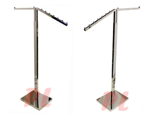 2 WAY Chrome Clothing Garment Retail Display Rack Clothes Hanger Fixture 71''