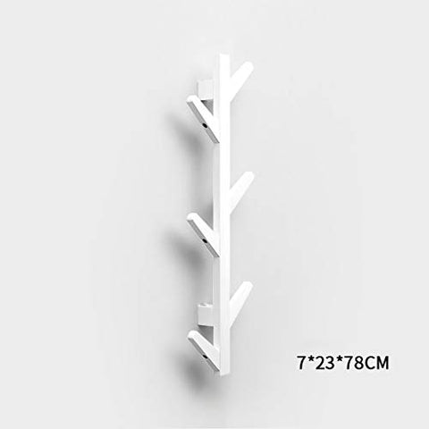 Coat Racks Modern DIY Entryway Wooden Clothing Rack Stand Hat Scarves Corner Hall Umbrella Tree for Bedroom Living Room Office Storage Rack,White,6Hook