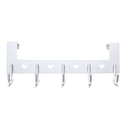 Gulevy Silver Over The Door Hook Organizer Rack - 5 Hook Over Door Rack - Heavy Duty Silver Towel Hook Set/Robe Hook Set/Clothes Hanger Rack