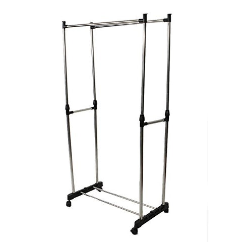 HOBBYN Drying Rack,2-Tier Clothing Garment Rack Hanger Shelving Wire Shelf Dress Wardrobe w/Rolling Indoor & Outdoor Use