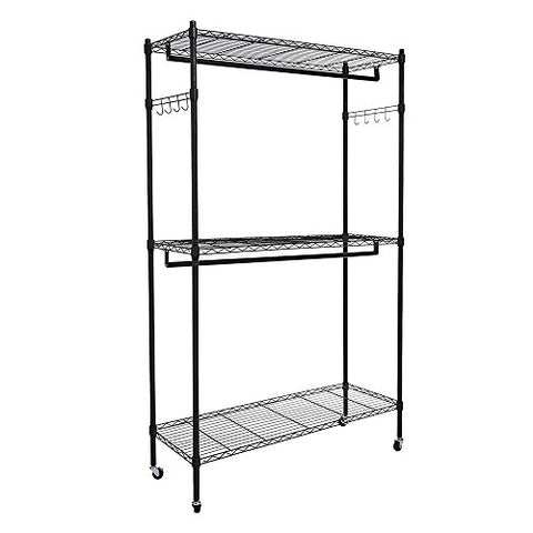 AK Energy Black Garment Wardrobe Racks Wheels Rolling Clothes Closet Hanger Two Bar Shelves Home 8 Hook