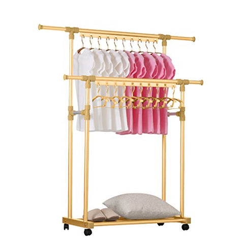 lililili Aluminum alloy Clothing garment rack, Heavy duty commercial grade clothes stand rack with top rod and lower storage shelf for boxes shoes boots-A