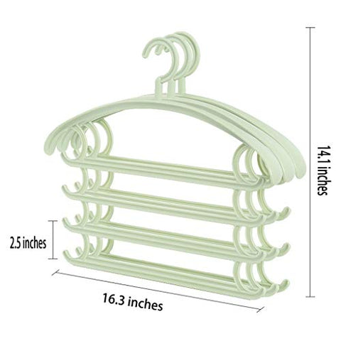 Lilongjiao Multilayer Hanger Space Saver Organizer Pants Towel Tie Rack- 3 Packs (Color : Green)