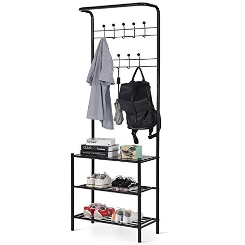 "Custpromo Metal 18 Hooks Coat Rack with 3-Tier Shoe Bench Entryway Storage Shelf, 26.0"" x 12.5"" x 72.5"" (L x W x H), Black"