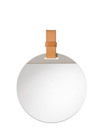 Enter Mirror in Small with leather strap by ferm Living