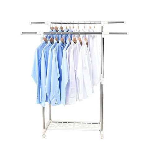 Adjustable Clothes Hanger, Rolling Floor Clothes Hanger, Double Clothes Rail, Storage And Shoe Stand, L101-150cm W40 H95-160cm, (Stainless Steel),White