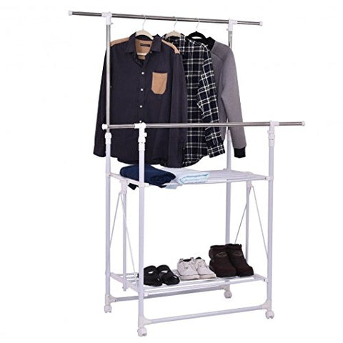 BESTChoiceForYou White Stainless Steel Plastic Double Rail Folding Adjustable Rolling Clothes Rack Hanger w/ 2 Shelves Closet Organizers Garment Racks