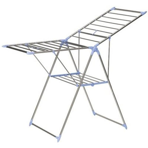 Household Essentials Collapsible Adjustable Gullwing Metal Clothes Drying Rack, Grey