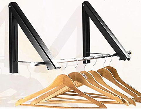 Folding Clothes Hanger - Retractable Clothes Racks| Wall Mounted Clothes Drying Rack|Home Storage Organiser Space Savers for Living Room/Bathroom/Bedroom/Office, Easy Installation (1 Kit-Alu-Black)