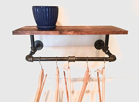 "Clothing Rack, Pipe Rack, Rustic Laundry Rack Sign with a Touch Industrial Style with 24"" Shelf (Stain Options)"