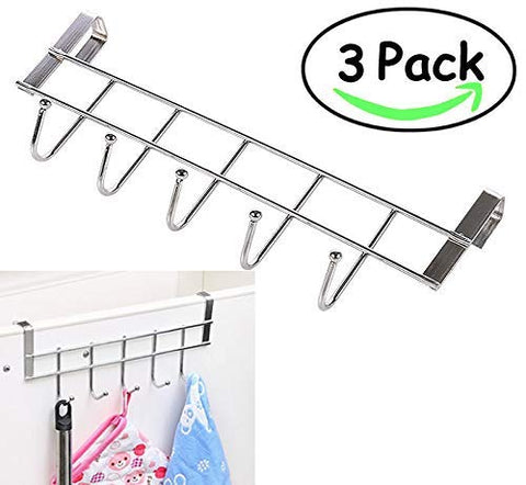3 Packs Over The Cabinet Door Hooks, 5 Hooks Organizer Rack - Wardrobe Hanger - Kitchen Office Storage, Chrome Finish