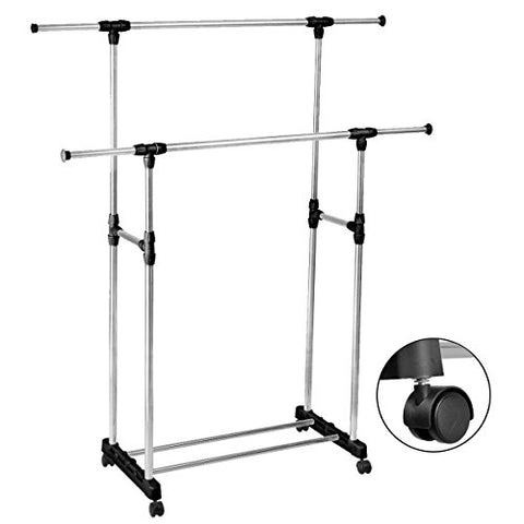 Classy Product Durable Double Adjustable Extendable Clothes Hanger Rack with Rolling Wheel
