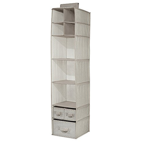 InterDesign 7-Shelf and 3-Drawer Organizer - Chevron Hanging Closet Storage System, Taupe/Natural