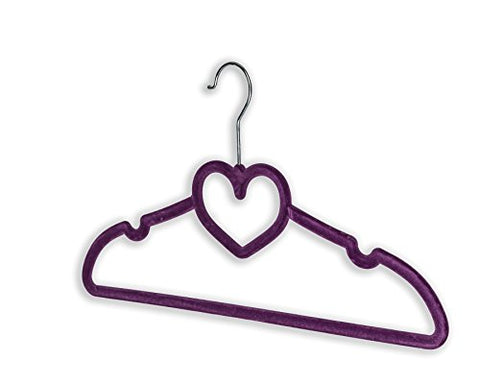 BriaUSA Clothes Hangers Heart Shaped Slim, Sturdy with Steel Swivel Chrome Hooks – Purple – Set of 10