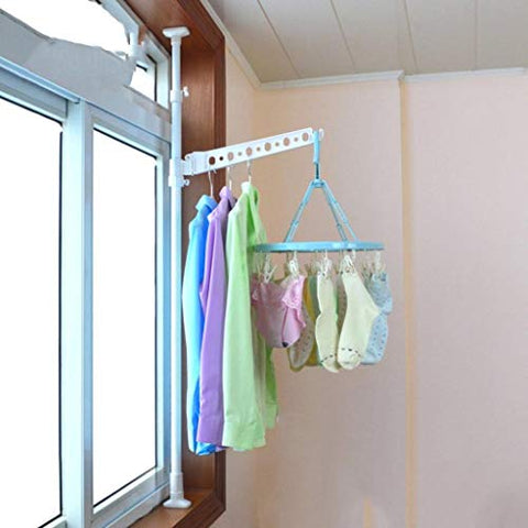 LE Home-it Clothes Drying Rack,Drying Rack Landing Retractable Single Rod Bedroom Cool Clothes Rack Balcony Simple Hanger Racks A