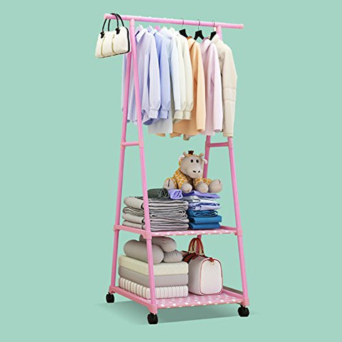 lililili Coat Racks,Floor Standing Multifuctional Hanger,Clothing Garment rack Coat Organizer Storage Shelving Unit Entryway Storage Shelf With 2-tier Metal shelf-D