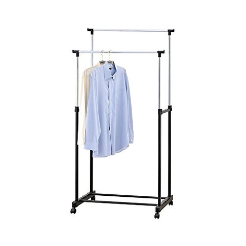Mind Reader Double Garment Rack Adjustable, with Wheels, Black/Silver