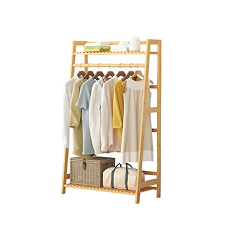 Floor Standing Coat Rack Cabinet Type, Bamboo Clothes/Hat/Shoe Storage Rack Clothing Shelf Multi-Layer Multifunction Hangers Single Rod Type,L60/80/100D35H130cm,Wood Color (Size : 8035130cm)