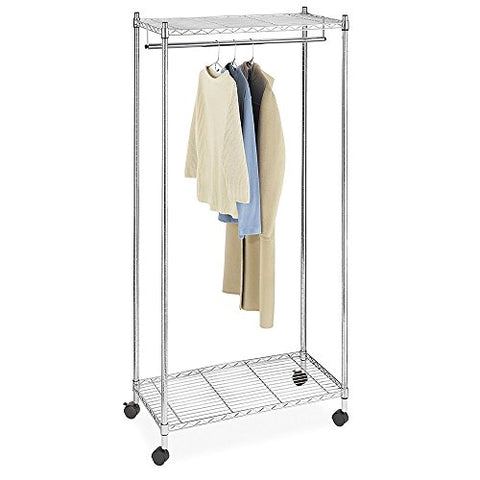 "Acazon Drying Rack,Double Layer Electroplated Iron Garment Rack with 2"" Nylon Wheels,Hang and Dry Clothes (US Stock) (Silver)"