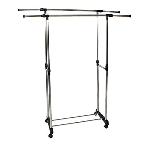 Binlin Clothing Rack,Dual-bar Vertically & Horizontally-Stretching Stand Clothes Rack with Shoe Shelf,Silver