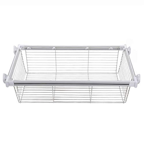 Adjustable Pull-Out Storage Basket, Clothes Hanger Rail for Wardrobe and Closet (92-97cm)