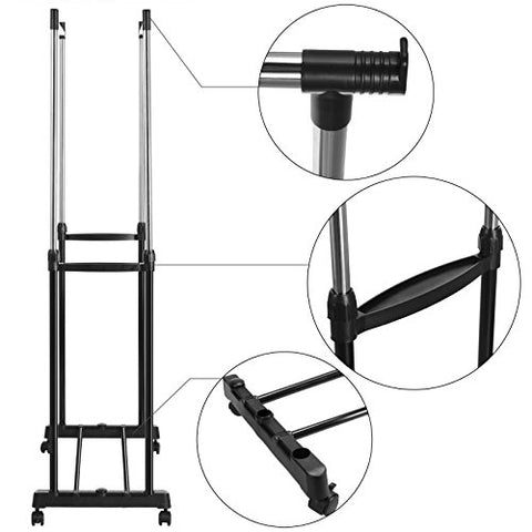 Meoket 2 Rod Hanging Garment Rack, Adjustable Double Rod Clothing Rack Portable Rolling Hanging Garment Racks with Castors and Shoe Rack 4 360 degree wheels(2 with lock), US Stock