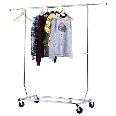IWS Heavy Duty Clothing Garment Rolling Collapsible Rack Chrome