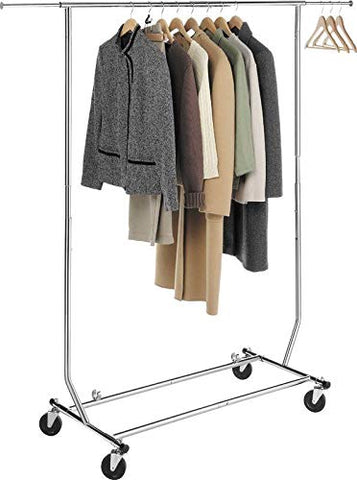 AK Energy Commercial Clothing Garment Rolling Collapsible Dry Rack Hanger Single Bar 250Lbs Capacity