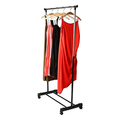 Hmlai Extendable Garment Rack Stainless Steel Chrome Clothes Organizer with Wheels